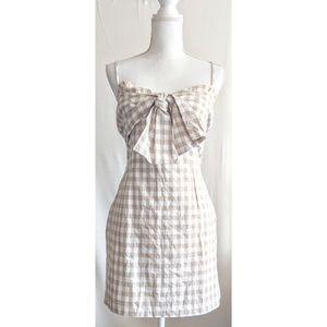 Nasty Gal Gingham Checkerd Bow Summer Dress
